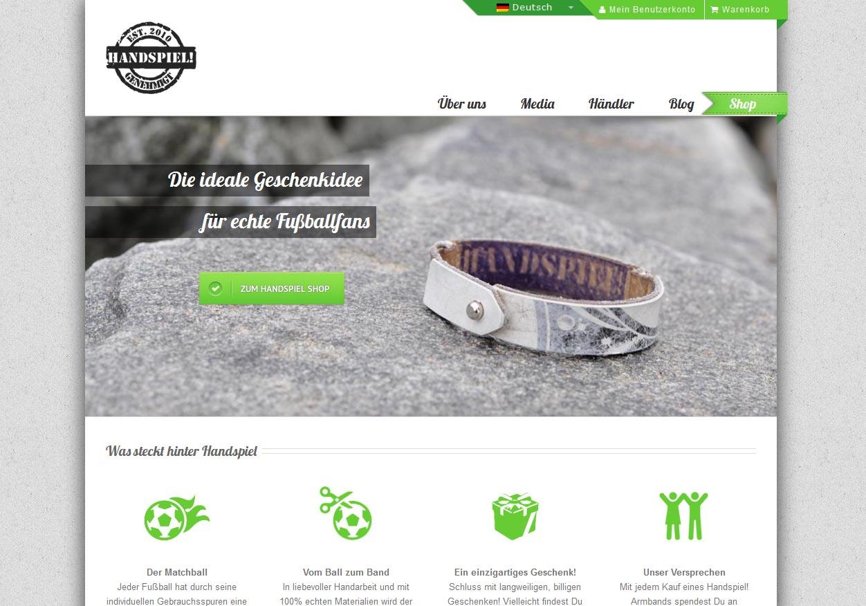 Handspiel genehmigt – Responsive Online-Shop